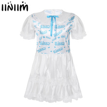 Men Silky Satin Babydolls Collar Puff Sleeves Sissy Printed Bodice Lace Trimmed Ruffled Adult Baby Lover Cross Dresse Costume