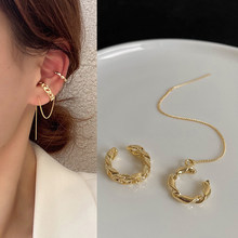 Clip On Earrings for Women Retro Geometric Long Chain Earrings Without Ear Holes Women Fashion Jewelry Wholesale