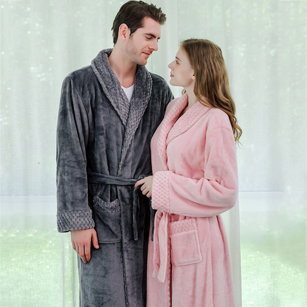 Vogue Men Women Nightgown Robe Long Sleeve Flannel Pajamas Couple Warm Bathrobe
