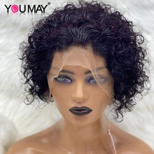 Wigs Short Human-Hair-Wigs Curly Bob Youmay Full-Lace Lace-Front 250-Density Virgin U-Part