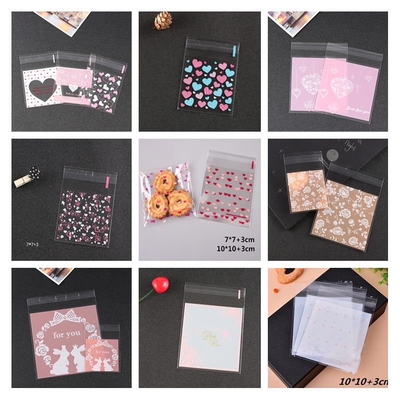 Love Heart Self Adhesive Cookie Bag Plastic Cellophane Candy Gift Bag lin