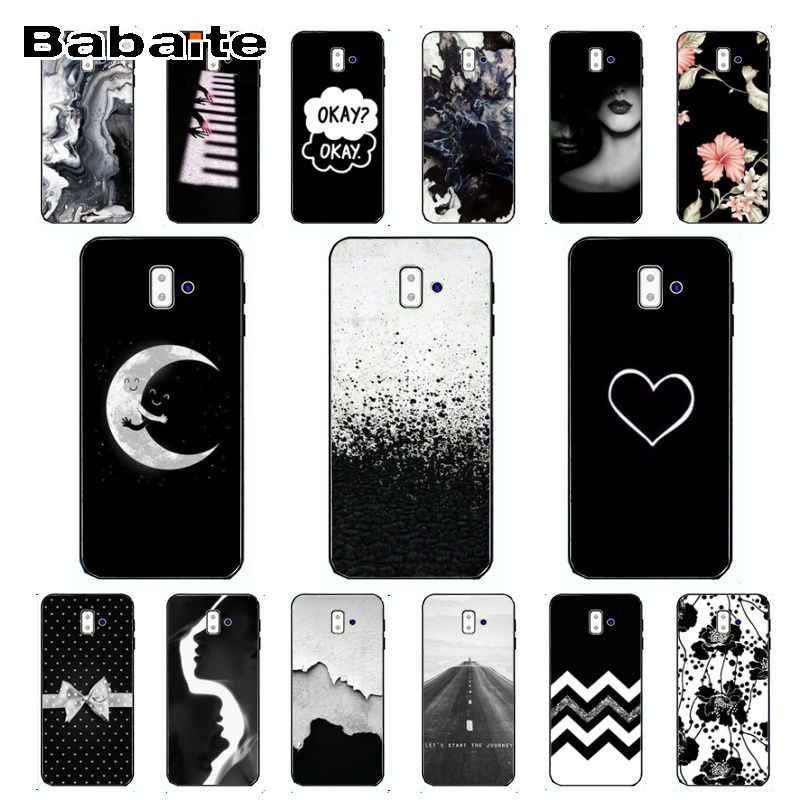 coque for galaxy <font><b>A10</b></font> Black & White Pattern Novelty <font><b>Fundas</b></font> Phone Case For <font><b>samsung</b></font> Galaxy j6 plus A6 A8 A9 <font><b>A10</b></font> A30 A50 Cellphones image