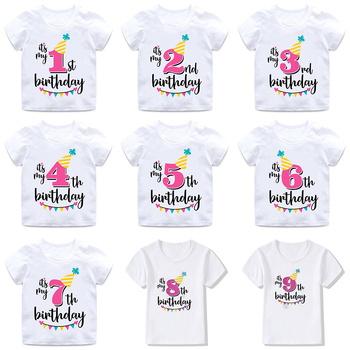 INPEPNOW Happy Birthday Child T-Shirt For Children Cotton Boys T Shirt White Baby Girls Top Princess Kids Tshirt DX-BS16