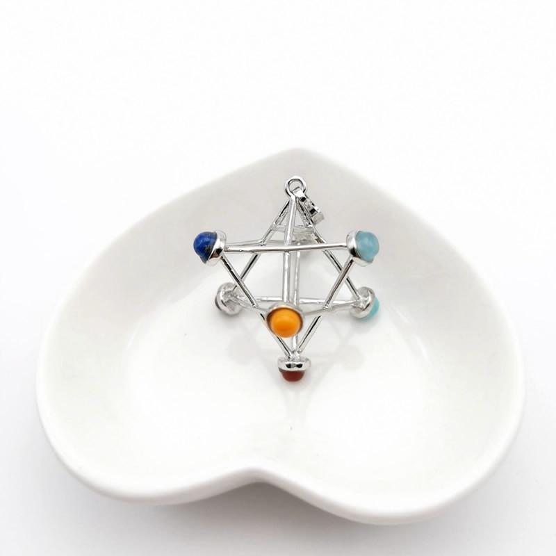 Merkaba Chakras Pendants Natural Stone Reiki 7 Chakra Necklaces Healing Hollow Star Point Women Men Necklace Pendulo