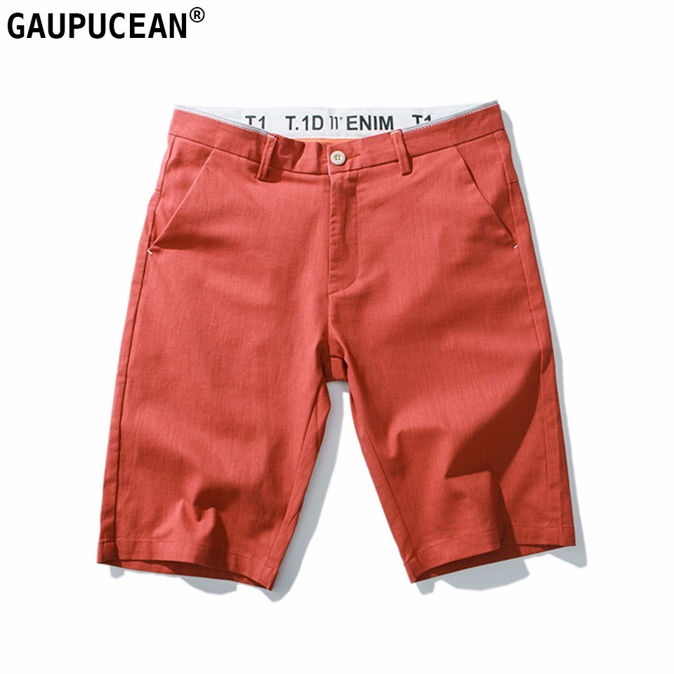 Man Shorts 98% Cotton 2% Spandex Trend Beach Summer Solid Knee Length Quality Street Young Male Fashion Casual Men Short Pants