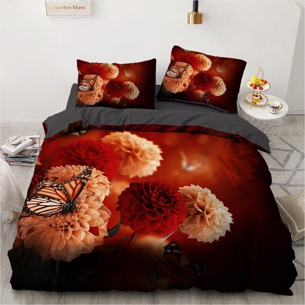 3d bedding set custom single queen king size 3pcs duvet cover set blanket quilt pillow case flowers bed set for wedding