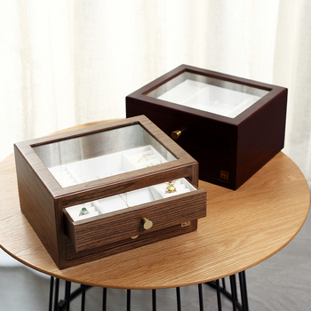 Casegrace Large Wooden Jewelry Box Organizer With Drawer Glass Display Wood Earring Ring Necklace Jewellery