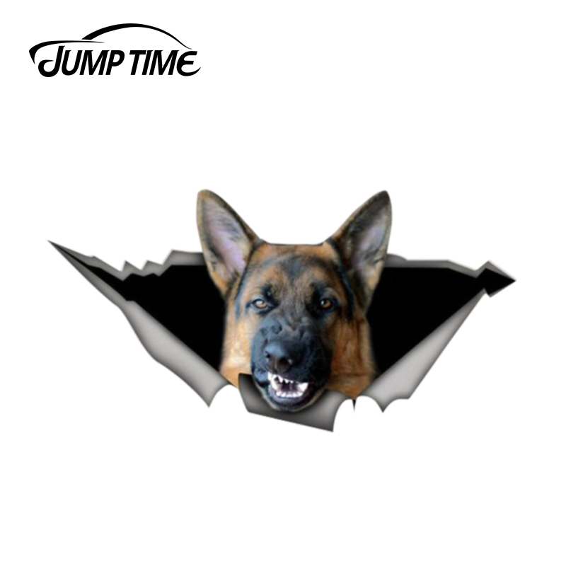 Jump Time 13cm X 6.8cm Angry Shepherd Sticker Torn Metal Bumper Decal Funny Car Stickers Window Trunk Animal 3D Car Styling