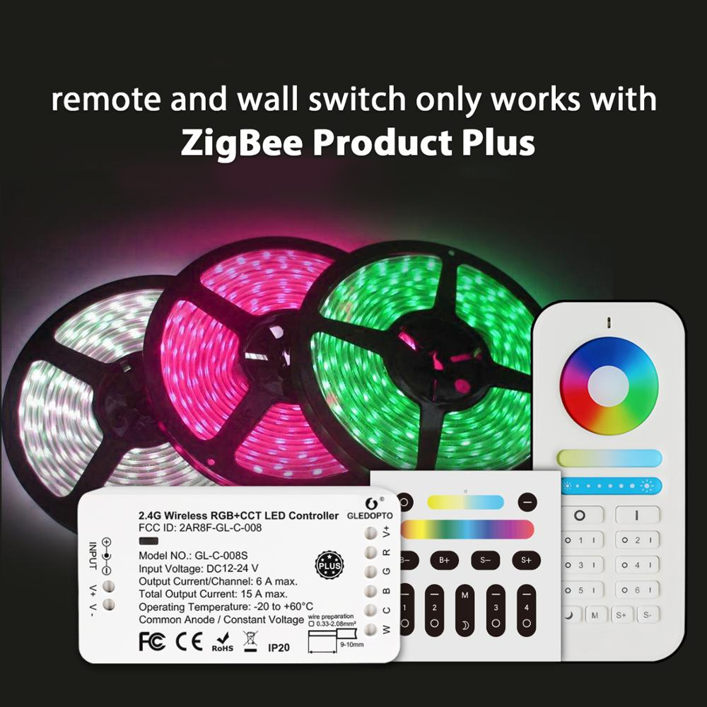 Zigbee smart RGB + CCT LED controlador Además, trabajar con Eco plus zigbee 3,0 gateway o control remoto Aplicación de teléfono de control de Panel táctil B8 montado en la pared; Atenuador RF remoto FUT089 de 8 zonas; Controlador led inteligente LS2 5 en 1 para RGB + CCT, tira led Miboxer