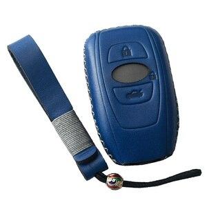 De cuero genuino carcasa de llave de mando a distancia de coche para legado Subaru XV Forester Outback Subaru BRZ clave sin llave