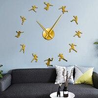 Handball Players Acrylic Silhouette Mirror Stickers DIY Wall Art Giant Wall Clock Teenager Room Sport Decor Handball Coach Gift|Wall Clocks|   -
