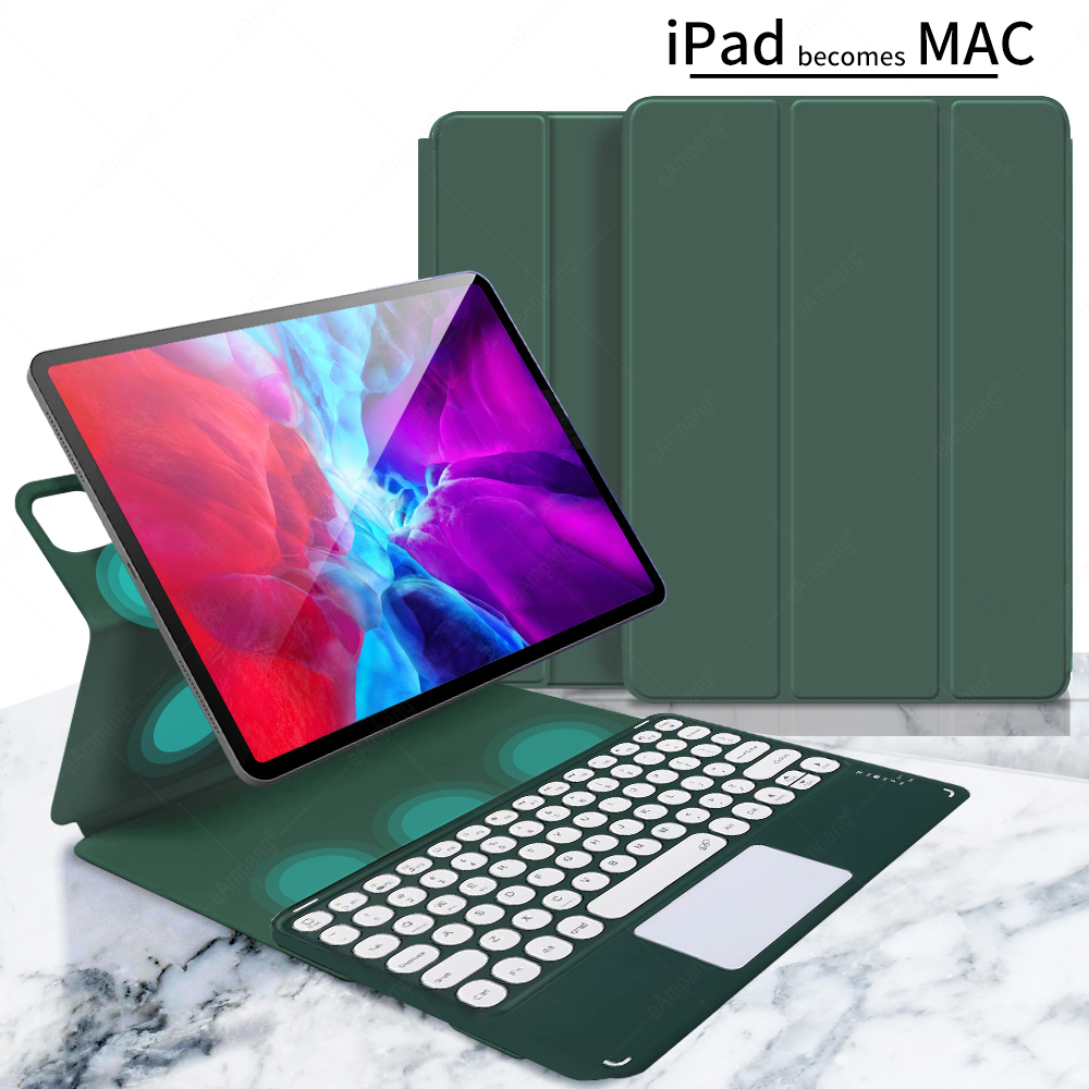 dark green Yellow For iPad Pro 11 2021 2020 2018 A2301 A2459 A2460 Magnetic Case Keyboard Spanish Russian Korean