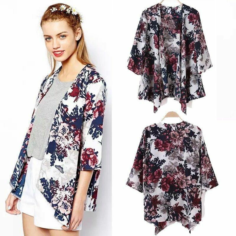 Women Floral Loose Shawl Vintage Kimono Cardigan Chiffon Coat Jacket Blouse Autumn Floral All-matching Brief Top