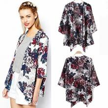 Women Floral Loose Shawl Vintage Kimono Cardigan Chiffon Coat Jacket Blouse Autumn Floral All-matching Brief Top(China)
