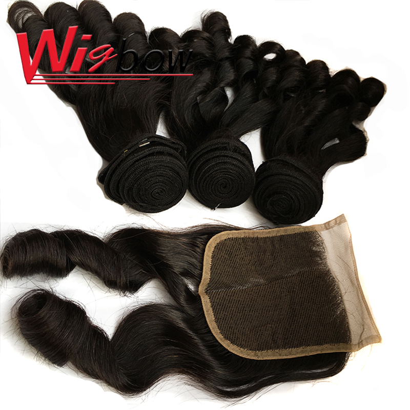 Bouncy Curly Hair Bundles With Closure Double Drawn Hair s  Curly Hair With Middle Part Closure 2