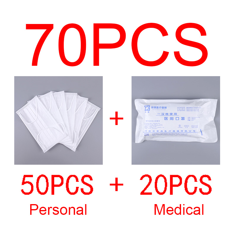 20PCS Medical + 50PCS Personal 3 Layer Disposable Medical Masks Anti PM2.5 Influenza Bacterial Facial Dust-Proof Safety Masks
