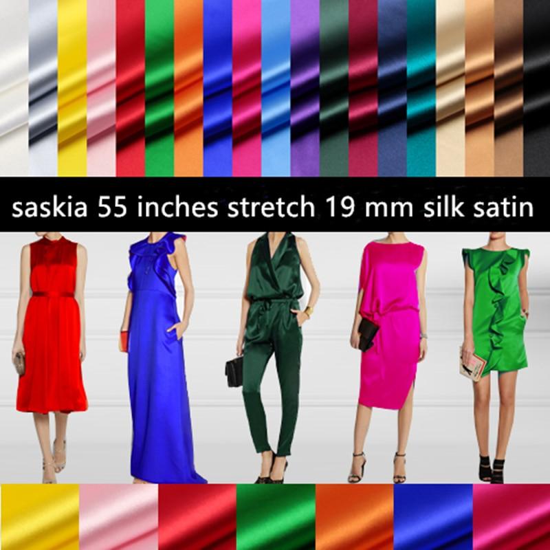 Шелковая атласная ткань для шитья, стрейчевая ткань из лайкры, ширина 50 см, шармёз 55 дюймов, текстильная ткань для лоскутного шитья, для плат...