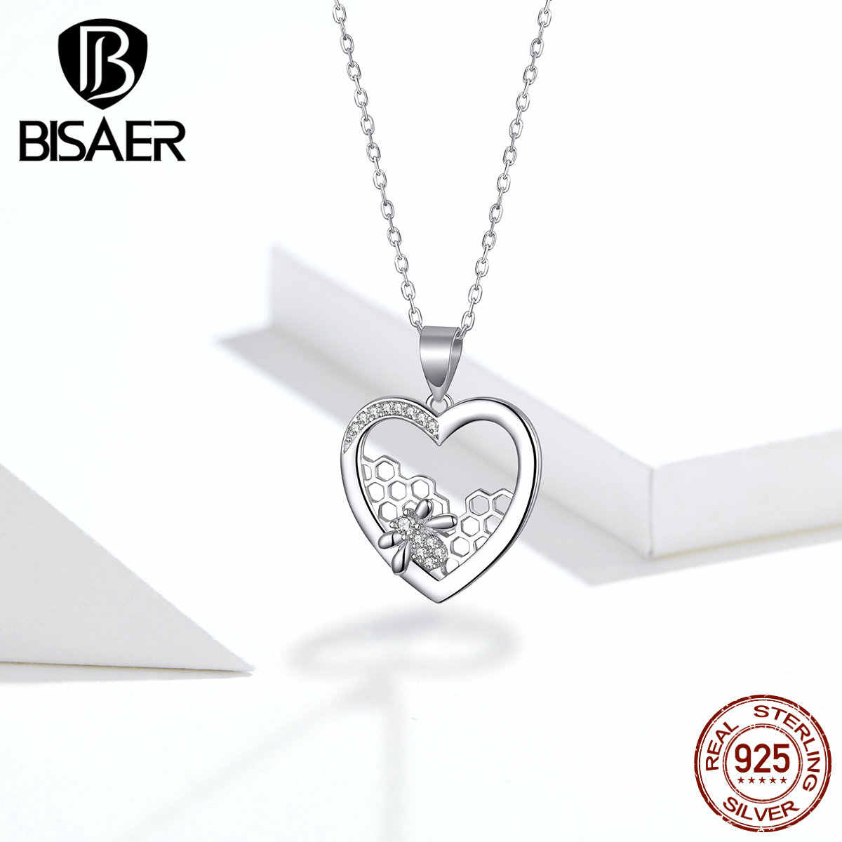 Honeycomb Collar BISAER 925 Sterling Silver Bee Love Honeycomb Heart Shape Pendant Necklaces for Women Luxury Jewelry ECN356
