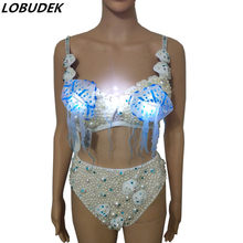 Electronic LED Dance Costume White Pearl Rhinestones Bikini 2-Piece Set Sexy Women Stage Wear Bar Nightclub Rave Party Costume(China)