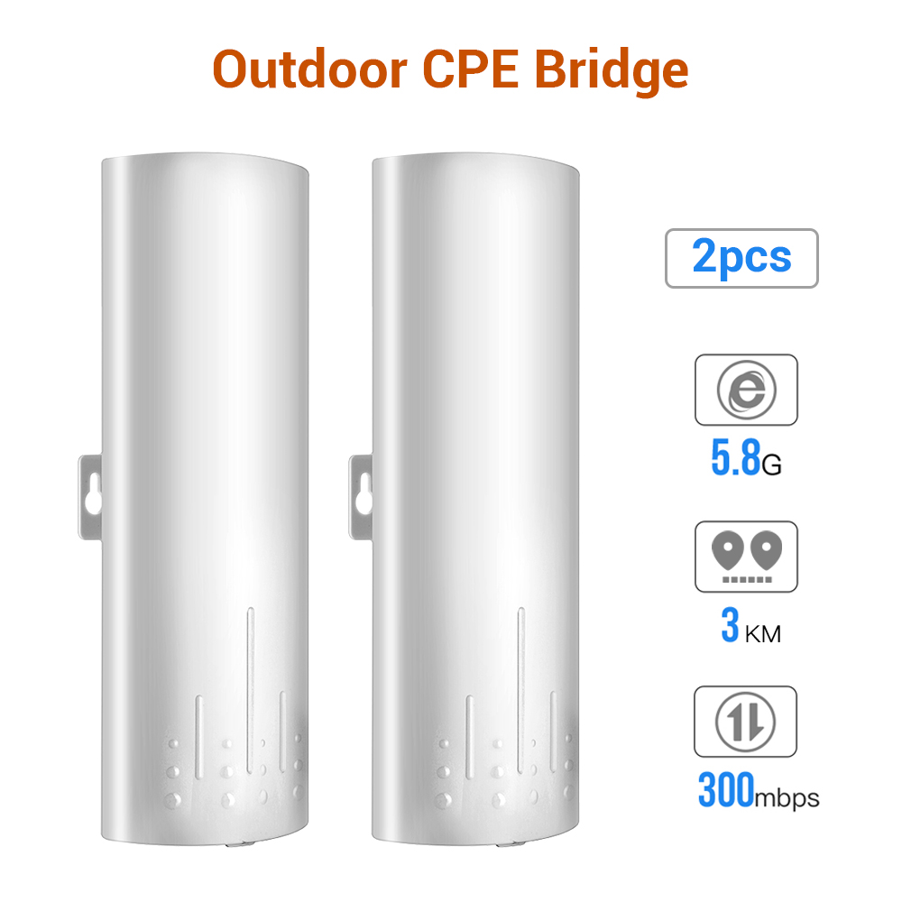 5.8G Long-Range Outdoor CPE Wireless Bridge 300Mbps Point To Point Transmission Distance WiFi Transmitter 14DBi High Gain