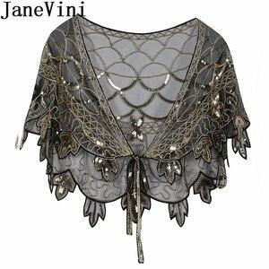 Image 3 - JaneVini Elegant แชมเปญทอง Bolero เลื่อมยักไหล่เสื้อสเวตเตอร์ถักผู้หญิงงานแต่งงานเสื้อ Cape Beaded Bridal Wrap Etole Femme Mariage