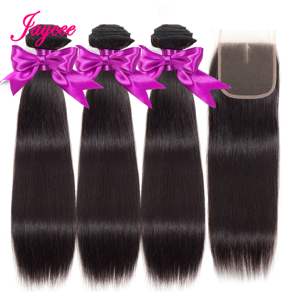 Peruvian Straight Hair Bundles With Closure 3 Bundles With Closure Weave Jaycee Human Hair Bundles With Closure Remy Hair