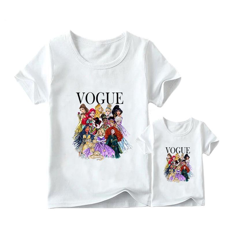 1 предмет, г. Летняя футболка с принтом принцессы в стиле панк модная одежда для мамы и дочки забавная семейная футболка с короткими рукавами - Цвет: 2
