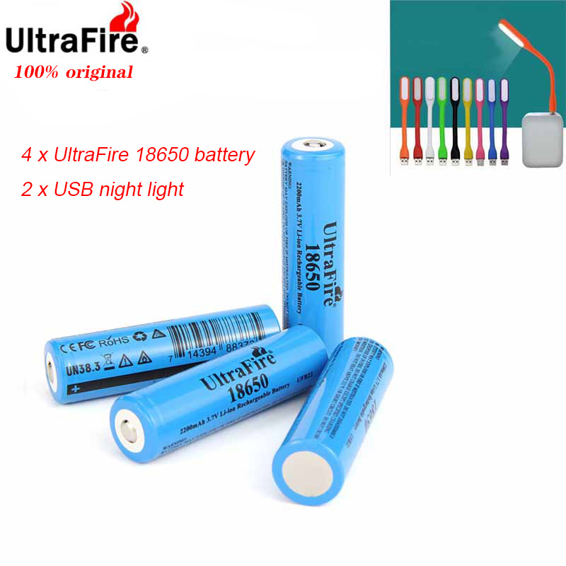 Ultrafire 18650 2200mAh 3.7V Lithium Ion Rechargeable Battery Luz USBLED Night Light De Litio Para Las Baterias De La Linterna