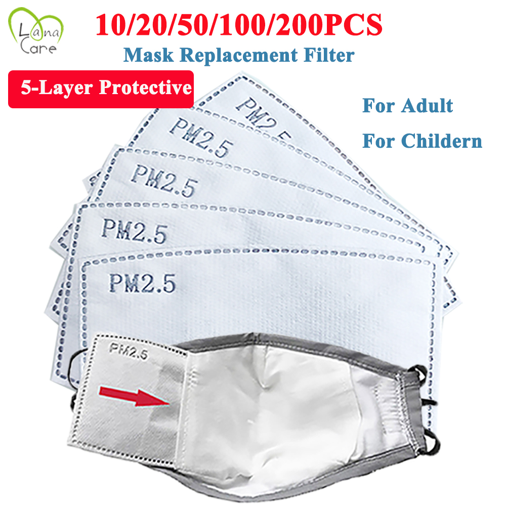 20/30/50/100PCS Mask Replaceable Filter PM2.5 Filter Insert 5 Layers  Filter Media Insert For Mask Adult/Childern