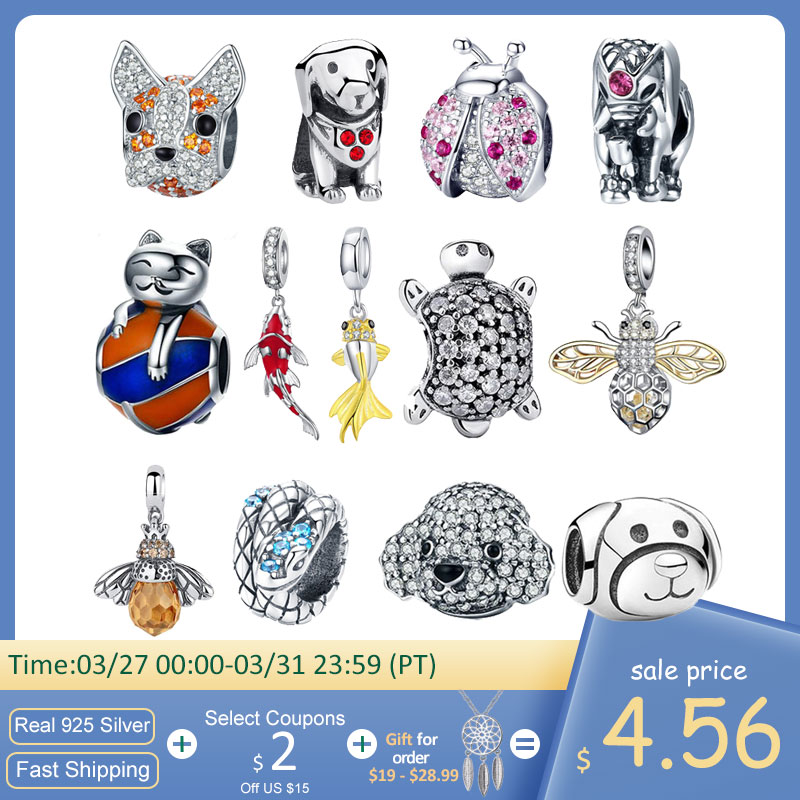 925 Sterling Silver Ladybug Cat Bulldog Turtle Elephant Animal Bee Tortoise Charms Beads Fit Bracelet DIY Beads Jewelry Making