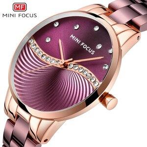 Женские кварцевые часы MINI FOCUS, модные водонепроницаемые часы из нержавеющей стали фиолетового цвета с ремешком, подарочная коробка