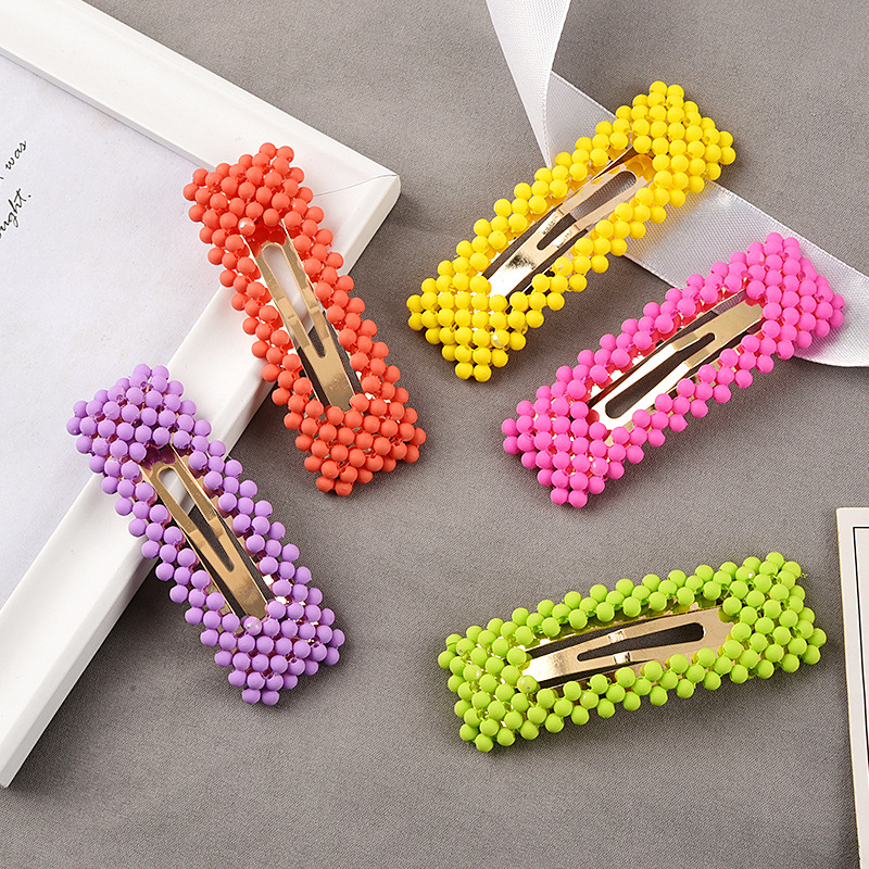 Korea Fluorescent Color Frosted Beads Fairy BB Clip  Women Girl Simple Cute Hairpins Headwear Hair Accessories Hot Sale