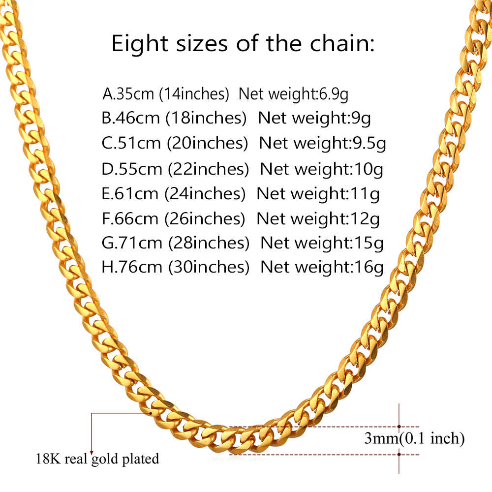U7 Cuban Link Chain Men Gold Color Stainless Steel Long/Choker Big Chunky Minimalist Rapper Chain Necklace Hiphop Jewelry N001