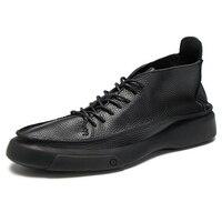 autumn winter combat boots mens High Quality Genuine Leather military boots men British retro men shoes cowhide chelsea boots
