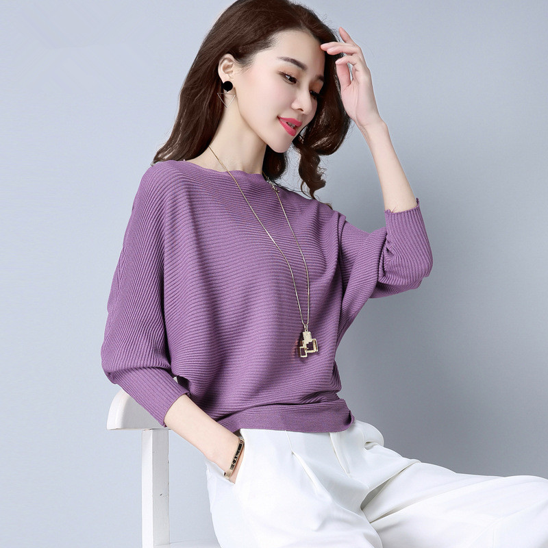 2020 Autumn New Style Solid Color Knitted Sweater Women's Korean-style Bat Sleeve Slimming Tops Comfortable Pullover Thin Base S