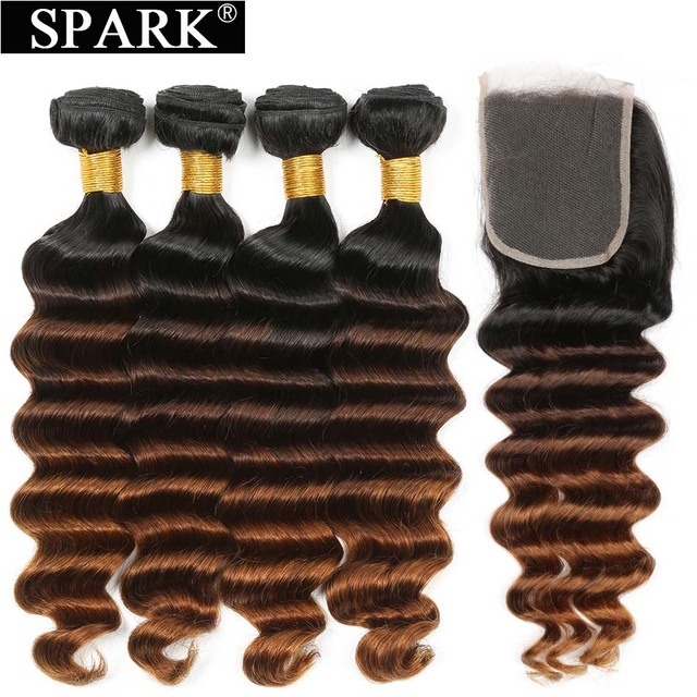 Spark Hair Peruvian Loose Deep Wave Human Hair Bundles With Closure Ombre Brown Color Closure With Bundles For Black Women Remy