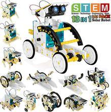 Caule 12-em-1 educação robô solar brinquedos diy edifício ciência experimento kit para crianças idade 8-12 solar alimentado por kits de robô sol