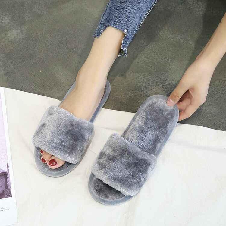 Dropshipping Winter Frauen Haus Plüsch Hausschuhe Fell Rutschen Flauschigen Faux Nicht-slip Flache Sandalen Weibliche Casual Schuhe Zapatos Mujer
