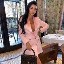 Chất Lượng Cao Dài Áo Đầm 2020 Mới Màu Hồng Phối Cổ Điển Đôi Bottons Khóa Satin Khăn Choàng Cổ Nữ Áo Phù Hợp Với