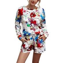 Женский комплект одежды с разноцветными чернилами топ длинными