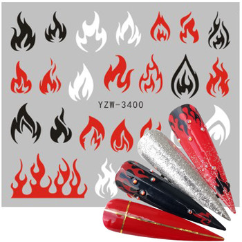 2020 New Designs Fire Flame Nail Stickers 3D Watermark Flames Nail Art Foil Water Transfer Sticker Decal Decorations 1pc water nail stickers decal marine life flamingo leaf transfer nail art decorations slider manicure watermark foil tips