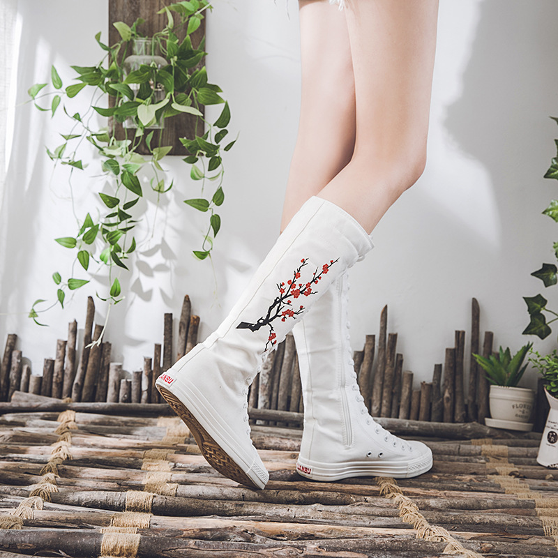 New 2020 Fashion Sneakers Women Vulcanized Shoes Canvas Lace Up Knee High Top Women Flat Casual Botas Plus Size Zapatos De Mujer