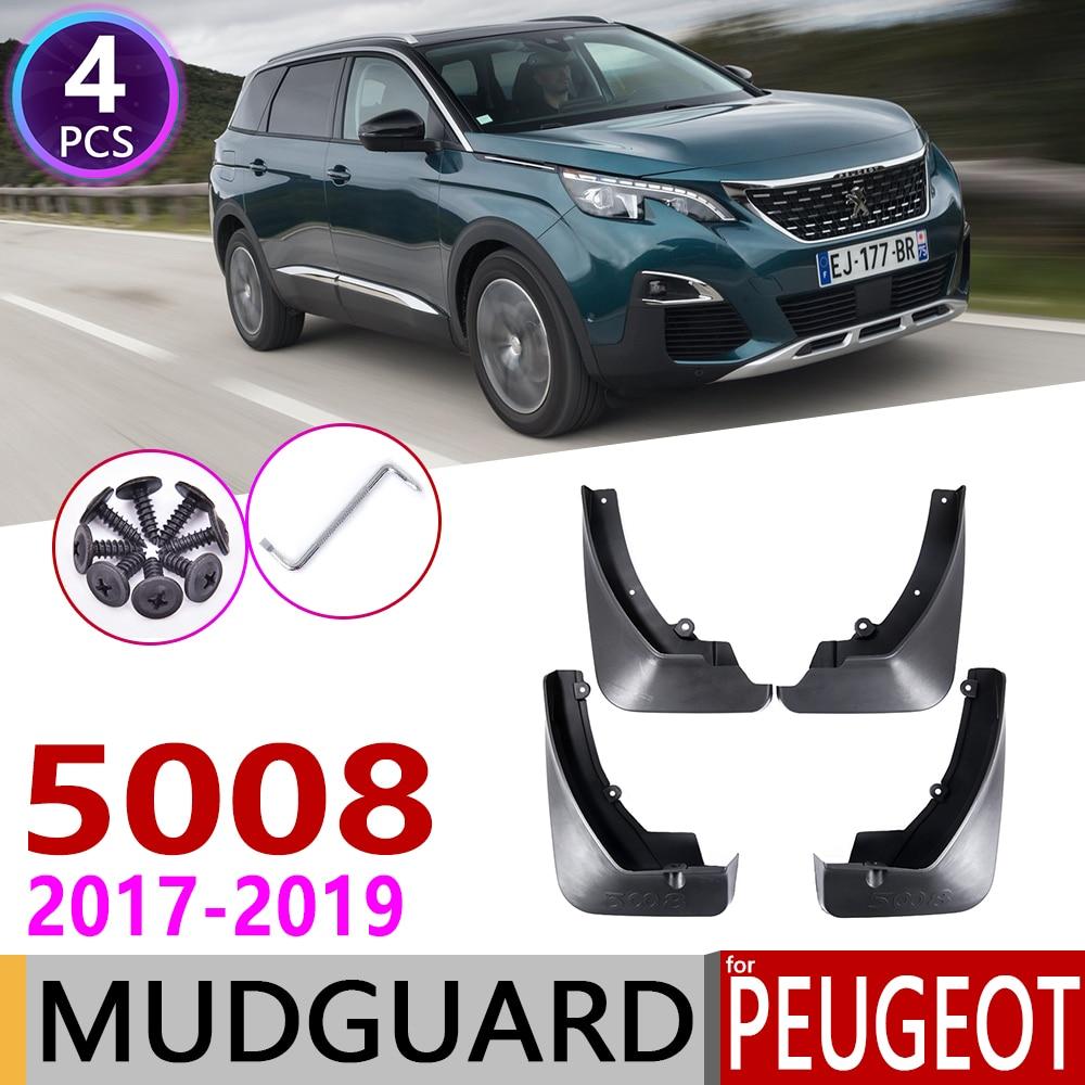 4 PCS Front Rear Car Mudflap for Peugeot 5008 2017 2018 2019 Fender Mud Guard Flap Splash Flaps Mudguards Accessories 2nd 2 Gen