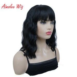 Image 2 - Aimolee frauen Medium länge Lockige Schwarze Perücke Natura Ordentlich Bang Stil Synthetische Perücken Haar