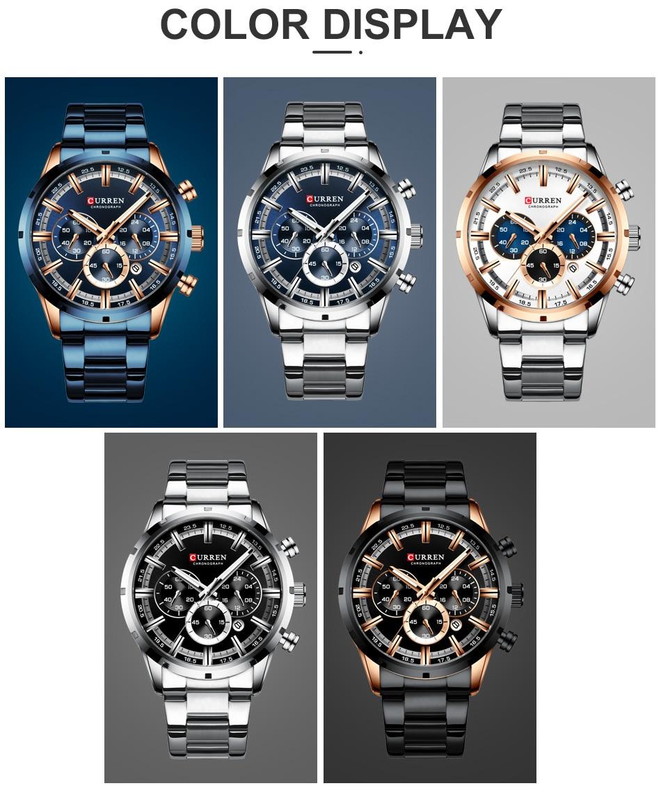 Hdedc31f091004244ab57ba92891de245i CURREN Men Watch Top Brand Luxury Sports Quartz Mens Watches Full Steel Waterproof Chronograph Wristwatch Men Relogio Masculino