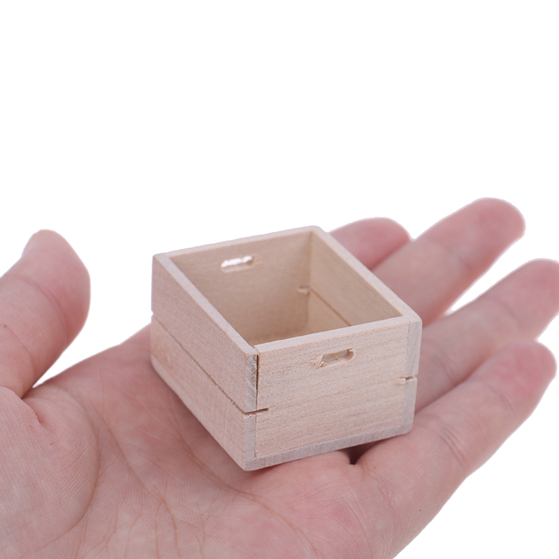 1pc 1:12 Dollhouse Miniature Wooden Vegetable Fruits Basket Furniture Accessories