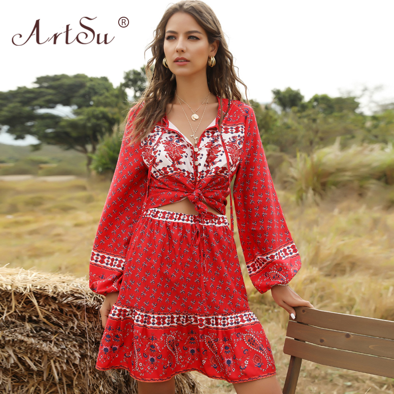ArtSu Boho Style Women Floral Print Two Piece Set Casual Lantern Sleeve Crop Top Mini Skirt Set Female Holiday Outfits 2020 Red
