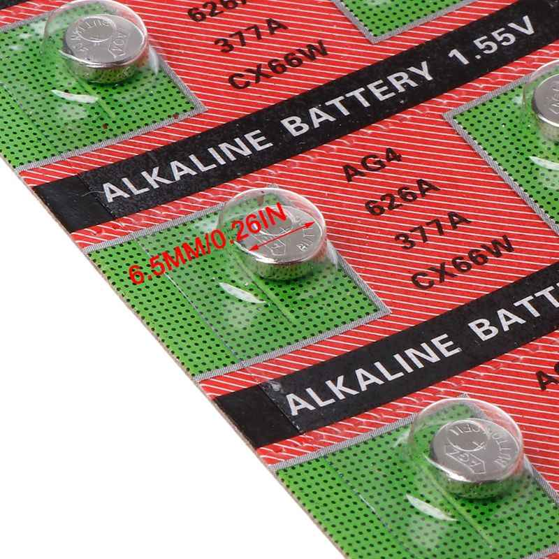 Batería de 10 Uds. De reloj AG4 377A 377 LR626 SR626SW SR66 LR66, pilas de botón, juguetes, cámara remota