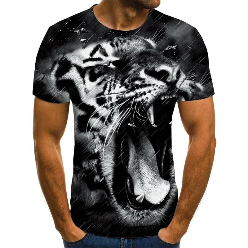 T-shirt à manches rondes pour hommes et femmes, décontracté, hip-hop, à col rond, avec animal/anime imprimé en 3D, 2021