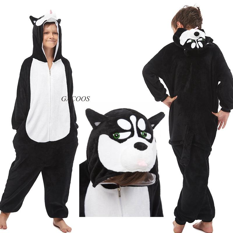 Boys Girls Kigurumi Flannel Sleepwear Winter Unicorn Pajamas Animal Dogs Stitch Pyjamas Kids Children Onesies Unicornio Pijamas